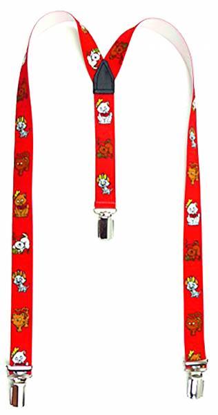 Hosentraeger 3966 Kinder Hosen-Traeger mit süssen Kätzchen Motiv (rot)