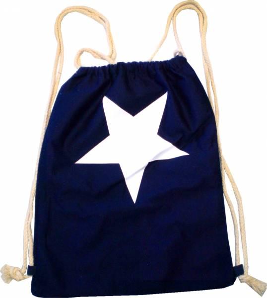 Beutel Rucksack Herren Damen Hipster Tasche dunkel blauer Turnbeutel Segeltuch Seemannsbeutel Stoffbeutel Kinder Gym Tasche - Stern 4736