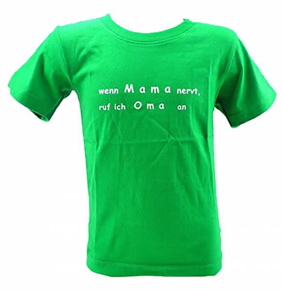 Kinder-Hemd grün lustige Sprüche T-Shirts 5-6 Jahre wenn Mama Nervt, ruf ich Oma an (Grün)
