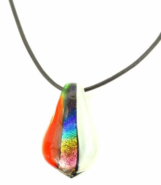 Halskette mit Glasanhänger Tropfen-rot