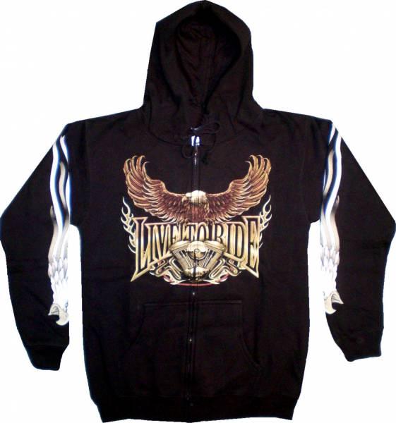 Sweatshirt-Herren Damen-Pullover Biker Kaputzen-Jacke M-XXL black Sherpa Motiv Adler-Motorrad Hoodie Sweatshirt Kaputzen Pulli