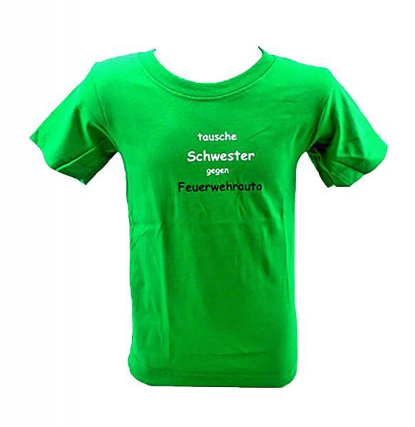 kinder t-shirt 3-4 Jahre TAUSCHE SCHWESTER GEGEN FEUERWEHRAUTO (grün)