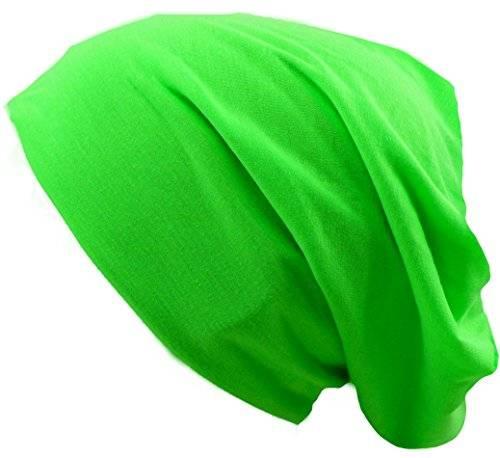 Muetze 2555 viele Stoffmuetzen Long Beanie Urban Beanie Classic Chill Wear Summer (neon grün)