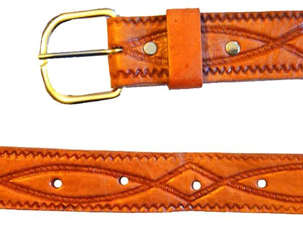 Gürtel Herren Damen hell braun ICHTHYS echt Ledergürtel Handmade Übergröße 120cm - 160cm (125 Zentimeter )2452