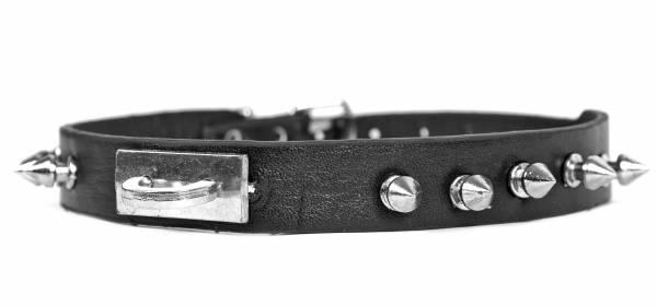 Premium Halsband Nieten-Halsbaender Edelstahl Schwarz Gothic Punk