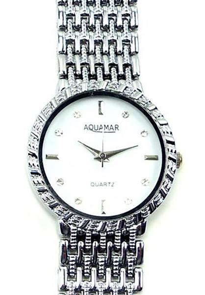 Damen-Uhren silber-weiss elegante Damenuhr mit Metallarmband und Strassbesatz