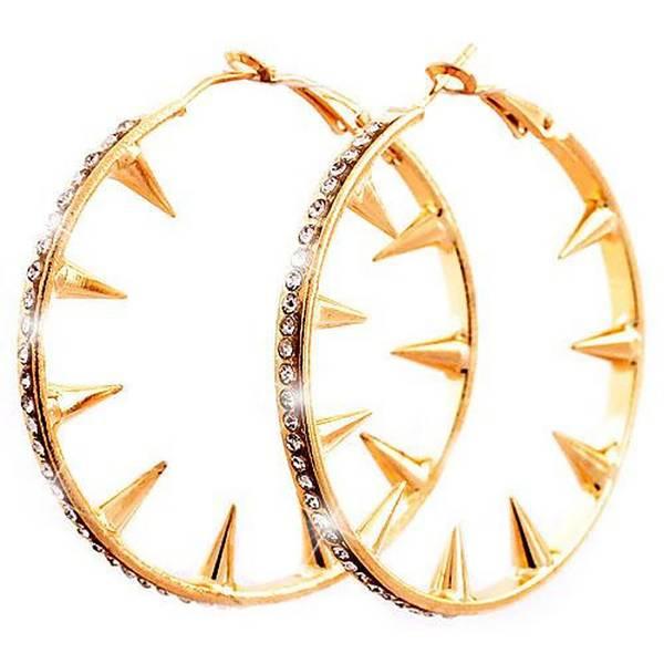 Creolen goldene-Damen Ohrringe 5cm gelb-gold Metall Killer-Nieten Ohring Set 2Stk Killernieten Strass