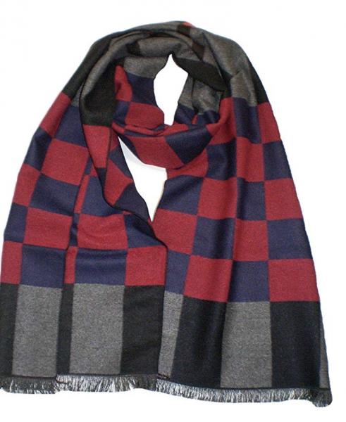 XL Schal-Herren Schals extra-lang Damen-Schal kariert gemustert Herbst Winter Luxus Scarfs Deluxe Schals super weich soft (graurot) 4770
