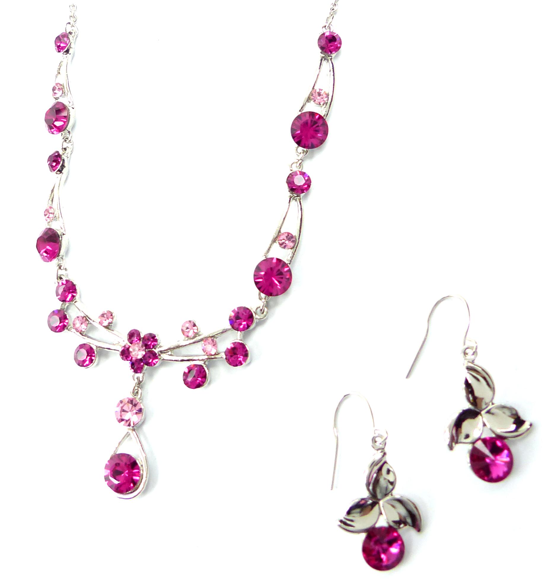 damen schmuck set silber mit swarovski steinen besetzt halskette ohrringe pink. Black Bedroom Furniture Sets. Home Design Ideas