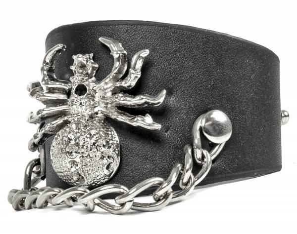 Premium Spinne-Armband Leder-Armband Edelstahl-Kette Echtlederarmband für Männer in Schwarz