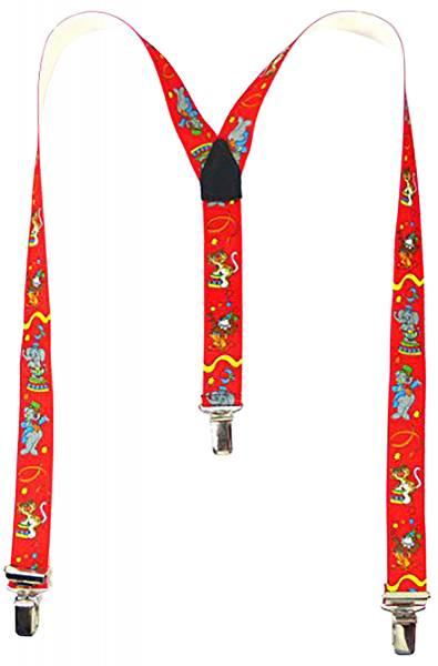 Hosenträger-Kinder rot mit Motiven Zirkus-Tiere Child-Suspenders red Circus-Animals