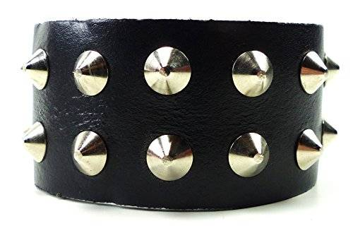 Nietenarmband Herren Damen Armband schwarz 2 Reihen Stahl Nieten besetzt Bracelet Metal Plunks Armbänder Nieten Spitznieten Gothic Kegelnieten Punk Rock Stahlnieten (2 Reihen)