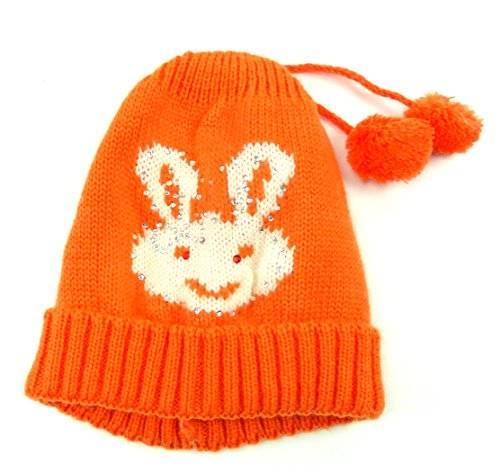 viele süsse Baby Wollmützen Kinder Wintermützen Bunny Strass (orange)
