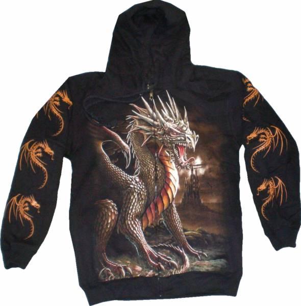 Pullover Herren Damen Sweatshirt schwarz mit Motiv Drache Kaputzen Jacke S-XL black Sherpa Hoodie Sweatshirt Kaputzen Pulli 4961 #6