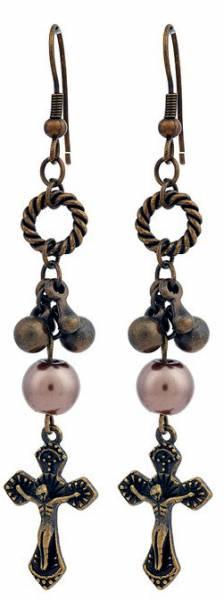 Ohrringe Kreuz Hänger-Ohrring Set braun mit Perlen Jesus Christus Schmuck Cross Earring Set brown Pearls Jesus Christ Women Jewelery 5013