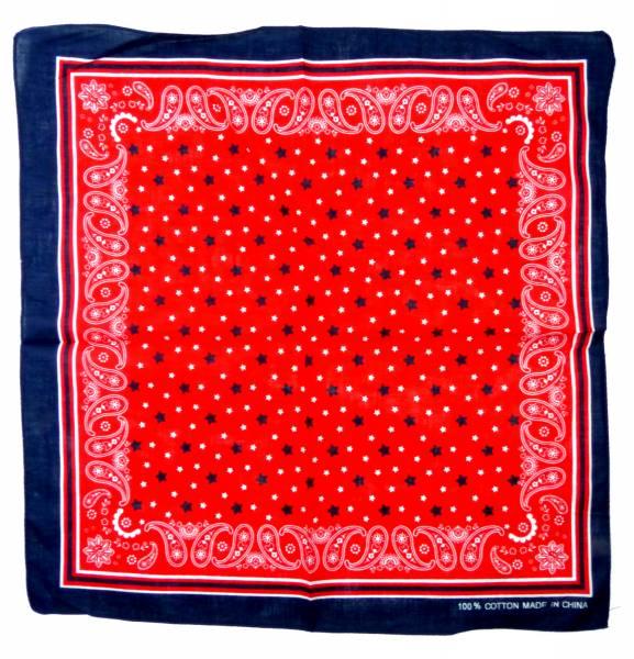 Nickituch blau rot mit Sternen Herren Damen Bandana Tuecher Star Paisley Design universal Tuch shawl-black pasly Kopftuch Palesti. Scarf Halstuch Armband Zantana Nikituecher ca 55x55cm 5294