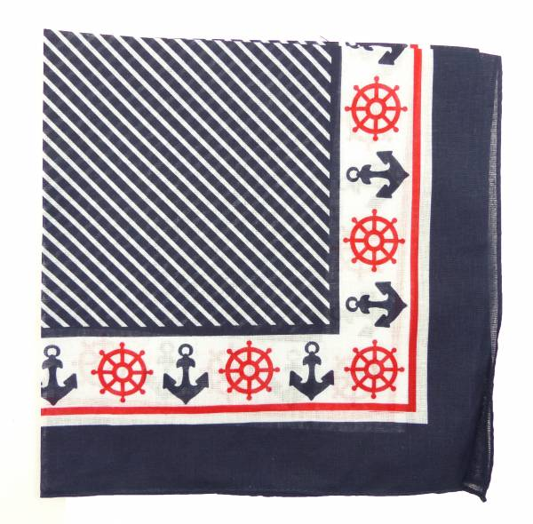 Nicki-Tuch Marine Herren Damen Dreieck-Tücher Seemann-Bandana Maritimes Motiv Mundschutz Marine Zantana - Anker (blau)