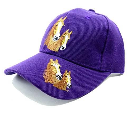 Muetze 3395 Kinder Caps viele Farben Pferde Cappy Retro Mütze 100% Baumwolle (lila)