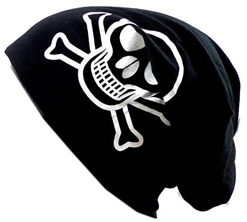 Muetze Herren Damen long Beanie Cap schwarz Totenkopf Stoffmütze Beanie Black Skull Urban Beanie Killer Chill Wear Summer black 2170