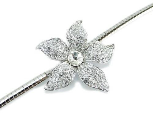 edle Damenhalskette Silber mit wunderschönen Straßsteinen besetzte Blume