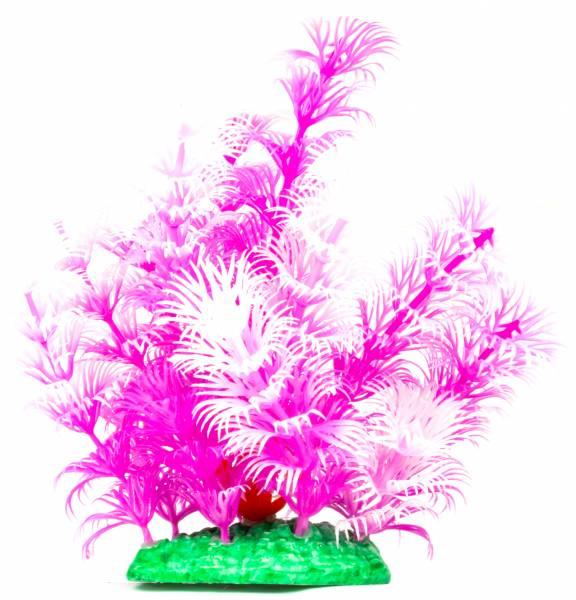 Aquarium Terrarium Wasserpflanze 14cm Pink-White auf Stein PF42 Plastik-Pflanze Wasser-Pflanzen für Aquarien