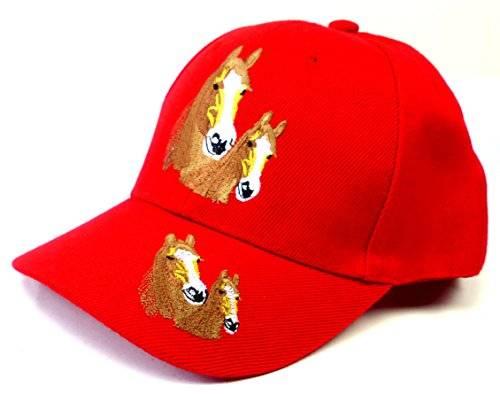 Kinder Cappy Jungen Mädchen Baseball Cap Pferde Stick Logo Sonnenschutz Schirm Mütze rot