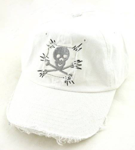 Muetze 2744 Jeans Cap alle Groeßen Baumwolle Skull weiss 22/1