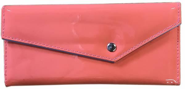 Damen-Geldbörse groß viele Fächer Lack-Leder Portemonnaie Rosa