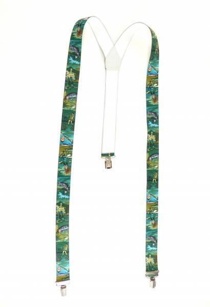 Hosenträger Sport-Angler Motiv grün Suspenders Sport-Fisher Design, mit 3 Clips, 3,5 cm