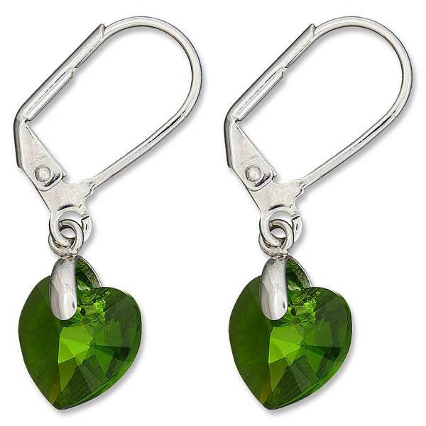 Tillberg Ohrringe Damen Ohrhänger in Herz-Form Swarovski-Stein grün Ohrring mit Clip Silber mit Swarovski-Heart Kistall Glamour Earrings der Oberklasse! green