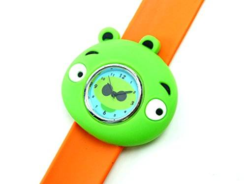 Kinderuhr Damenuhr mit Slaparmband aus Silikon viele Modelle (Hippo orange)