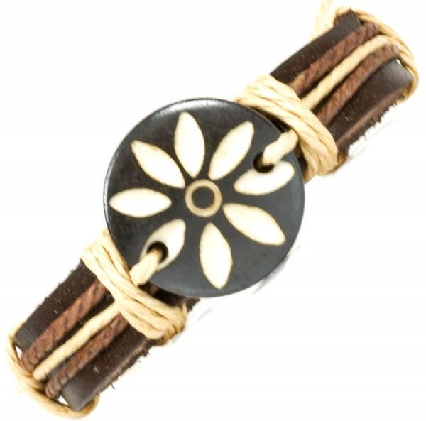 Herren Leder Armreifen Schmuck Armband Vintage Einstellbar Surf Armkettchen Motiv Blume