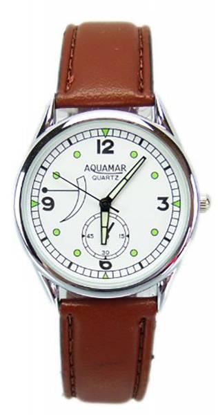 Damen-Uhren Armband-Uhr weiss-braun schlicht klassischer Zeitmesser mit Lederarmband in Braun U45-12