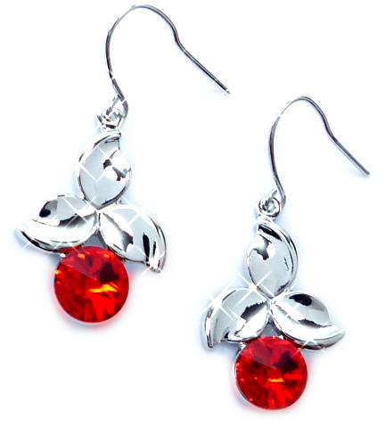 Swarovski Stein Ohrringe 4579 Swarovski Silber Haenger Ohrring Set der Oberklasse! Hanging Earring Swarovski Stones (RED CHERRY)