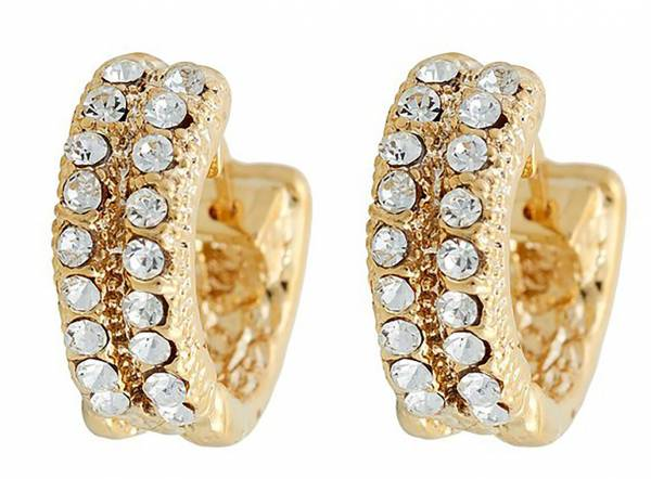 Tillberg Damen-Ohrringe Gold Kreolen mit Swarovski-Steinen Glamour Earrings der Oberklasse!