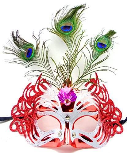 Maske 3732 Feder Masken #1 elegant venezianische Karneval Maskerade-Gesichts-Maske Fasching-Feder-Maskerade (rot)