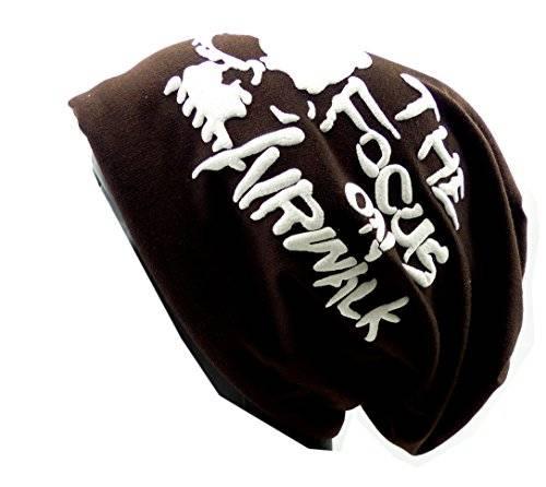 Cap 2672 Stoffmuetze Totenkopf Long Beanie Winter Skull Urban Beanie Killer Chill Wear Summer Head HX3 (braun)