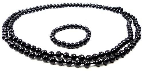 Perlenketten Set Perlen Kette mit Perlen Armband Schmuck Set Perlensets (72, schwarz)