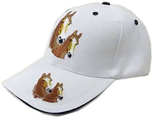 Kinder Caps viele Farben 4041 Pferde Cappy Retro Mütze 100% Baumwolle U19-2 (weiss)