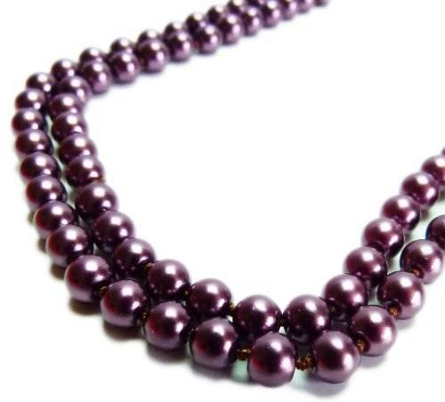 Kette 3960 Halskette Damen Perlenkette viele Farben 58cm (lila)