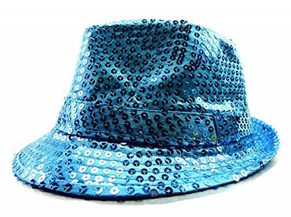 Huete Herren Damen türkis Party-Hat Men Woman light blue viele LED Party Hüte LED Pailletten Hut mit LED Lichtern Party LED Hüte (türkis) 3506