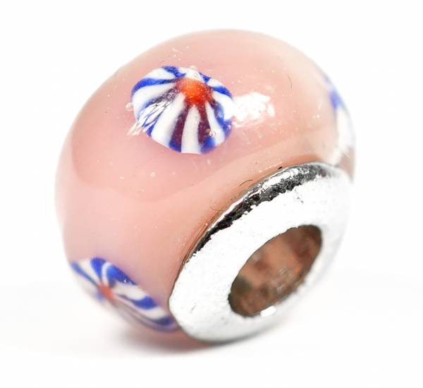 Beads Charms Schmuck Glasperlen Anhänger Unisex Zwischen-Element Kugel Retro Rosa Blau Handbemalt