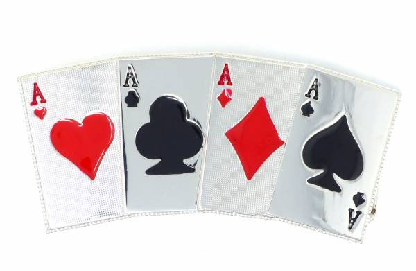 Gürtel Schnalle silber Spiel Karten Motiv Koppel Schnalle Metal Cards Buckle