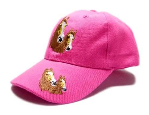 Cap 2820  Kinder Muetze rosa Pferde Cappy Retro Mütze 100% Baumwolle