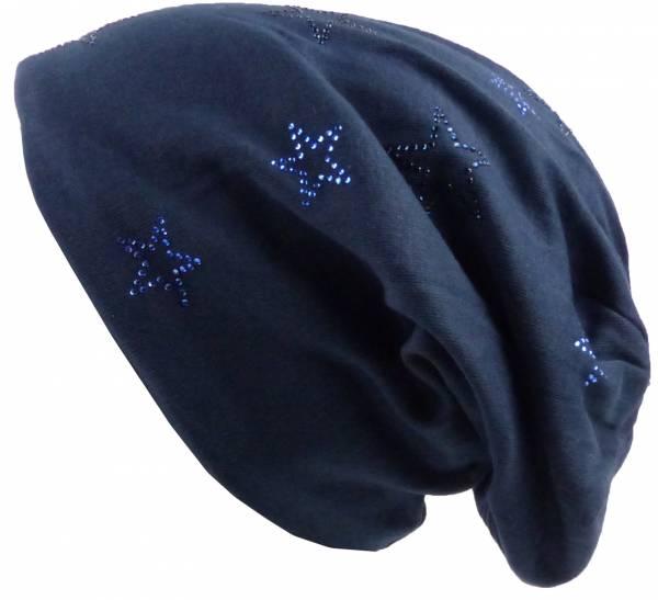 Winter Beanie-Mützen Herren Damen long Beanie Cap Sternen-Design mit Strass Stoffmütze Beanie-Hat Urban Beanie Chill Wear Winter Star-Strass