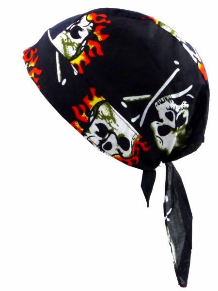 Kopftücher-Herren Damen-Kopftuch schwarz Totenkopf Kinder-Sonnenschutz Junge Mädchen Kopf-Tücher black Headscarf Skull Fire-Sun