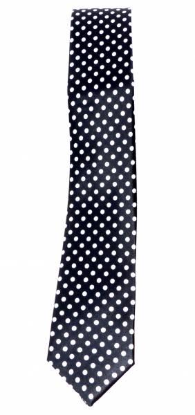 50er Jahre Krawatte Anzug Schlips schwarz mit weissen Punkten