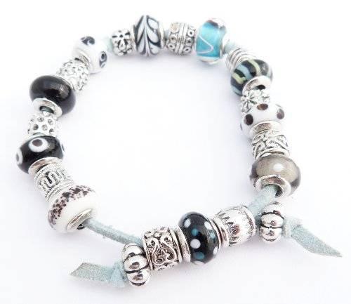 Armband 1508 wunderschönes Beadarmband Beads mit Strass Glassteinen und Silber