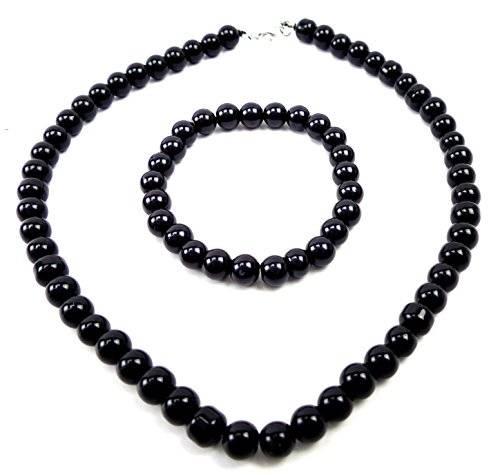 Perlenketten Set Perlen Kette mit Perlen Armband Schmuck Set Perlensets (44, schwarz)