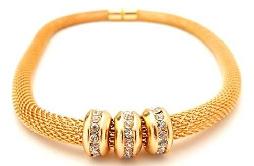 edle Designer Damen Halsketten mit Strass Beads Modell -betterOne- viele Modelle (GOLD S)
